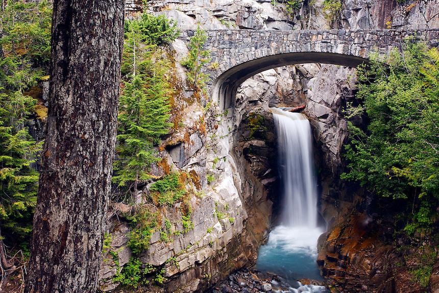 Bridge over Christine Falls, Van Trump Creek, Mount Rainier National Park, Washington, USA