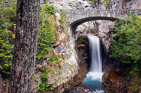 Bridge over Christine Falls, Van Trump Creek, Mount Rainier National Park, Washington, USA