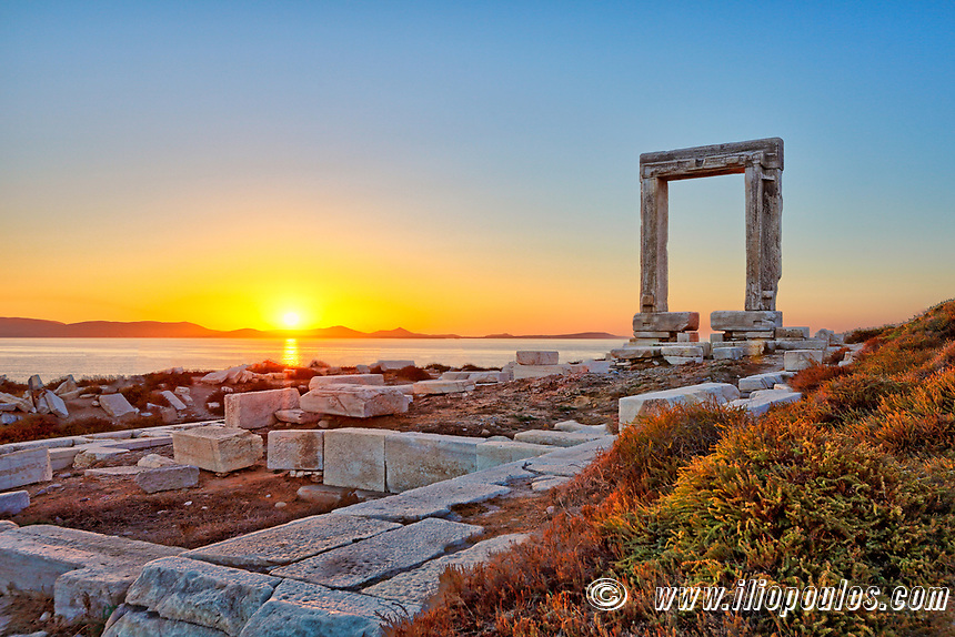 The sunset from Portara in Chora of Naxos island, Greece