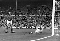 30.07.1966. Wembley Stadium, London England. 1966 World Cup final England versus Germany (4-2) After Extra time.  After the 1-0 lead for Germany, both Jack Charlton (L, ENG) and goalkeeper Gordon Banks (ENG) are dejected