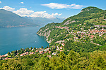 View of Lake Como from the top of the Vezio Castle tower, the castle above the town of Varenna