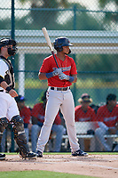 GCL Twins Jesus Feliz (1) at bat during a Gulf Coast League game against the GCL Pirates on August 6, 2019 at Pirate City in Bradenton, Florida.  GCL Twins defeated the GCL Pirates 4-2 in the first game of a doubleheader.  (Mike Janes/Four Seam Images)