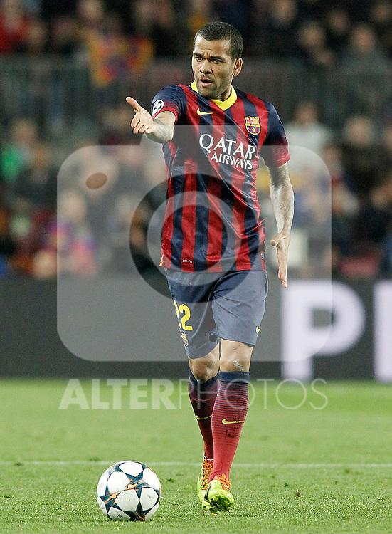 FC Barcelona's Daniel Alves during Champions League 2013/2014 match.April 1,2014. (ALTERPHOTOS/Acero)