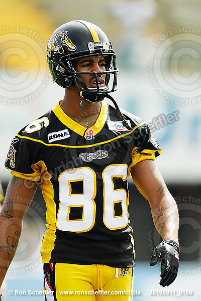 September 11, 2010; Hamilton, ON, CAN; Hamilton Tiger-Cats wide receiver Maurice Mann (86). CFL football: Montreal Alouettes vs. Hamilton Tiger-Cats at Ivor Wynne Stadium. The Alouettes defeated the Tiger-Cats 27-6. Mandatory Credit: Ron Scheffler. Copyright (c) 2010 Ron Scheffler.