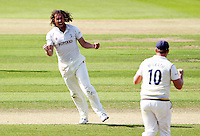 PICTURE BY ALEX WHITEHEAD/SWPIX.COM - Cricket - County Championship Div Two - Yorkshire v Glamorgan, Day 3 - Headingley, Leeds, England - 06/09/12 - Yorkshire's Ryan Sidebottom celebrates the wicket of Glamorgan's Mark Wallace.