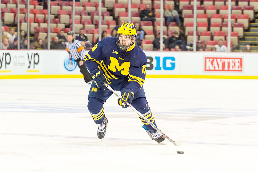 The University of Michigan hockey team; 4-2 loss to Minnesota State University in the Championship Game of the 2015 Big Ten Hockey Tournament at Joe Louis Arena in Detroit, Mich. on March 21.