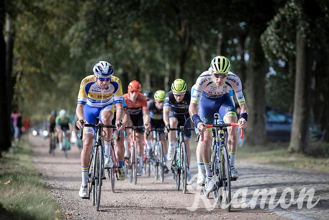 Frederik Backaert (BEL/Wanty - Gobert) and team Sport Vlaanderen Baloise rider riding a gravel/cobbles section.<br /> <br /> 23th Memorial Rik Van Steenbergen 2019<br /> One Day Race: Beerse > Arendonk 208km (UCI 1.1)<br /> ©kramon