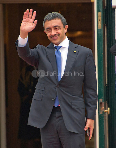 Sheikh Abdullah bin Zayed bin Sultan Al Nahyan, Minister of Foreign Affairs and International Cooperation of the United Arab Emirates arrives for the working dinner for the heads of delegations at the Nuclear Security Summit on the South Lawn of the White House in Washington, DC on Thursday, March 31, 2016.<br /> Credit: Ron Sachs / Pool via CNP/MediaPunch