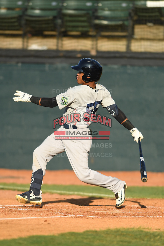 Pulaski Yankees Madison Santos (58) follows through on his swing against the Bristol Pirates at Boyce Cox Field on July 8, 2019 in Bristol, Virginia. The Yankees defeated the Pirates 5-0. (Tracy Proffitt/Four Seam Images)