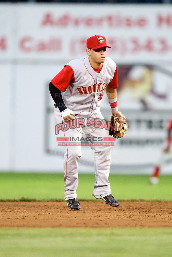 Brooklyn Cyclones second baseman Juan Carlos Gamboa #20 during a game against the Batavia Muckdogs at Dwyer Stadium on July 27, 2012 in Batavia, New York.  Batavia defeated Brooklyn 2-0.  (Mike Janes/Four Seam Images)