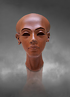 Ancient Egyptian quartz statue head of princess from Amarna. 18th Dynasty Ancient Egypt, 1345 BC . Neues Museum Berlin Cat No: AM 21223.