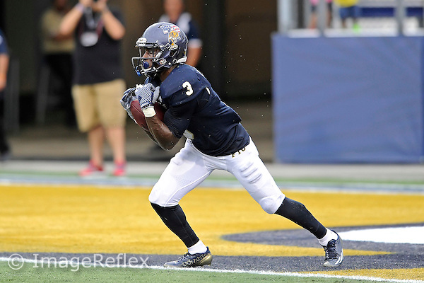 20 September 2014:  FIU cornerback Richard Leonard (3) returns a kickoff in the first half as the University of Louisville Cardinals defeated the FIU Golden Panthers, 34-3, at FIU Stadium in Miami, Florida.
