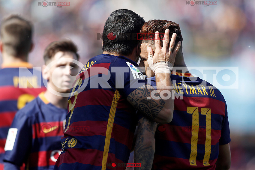 FC Barcelona's Leo Messi, Luis Suarez and Neymar Santos Jr celebrate goal during La Liga match. May 14,2016. (ALTERPHOTOS/Acero) /NortePhoto.com