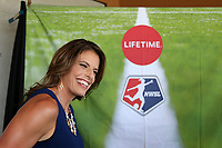 Cary, North Carolina  - Saturday August 19, 2017: Lifetime broadcaster Jenn Hildreth prior to a regular season National Women's Soccer League (NWSL) match between the North Carolina Courage and the Washington Spirit at Sahlen's Stadium at WakeMed Soccer Park. North Carolina won the game 2-0.