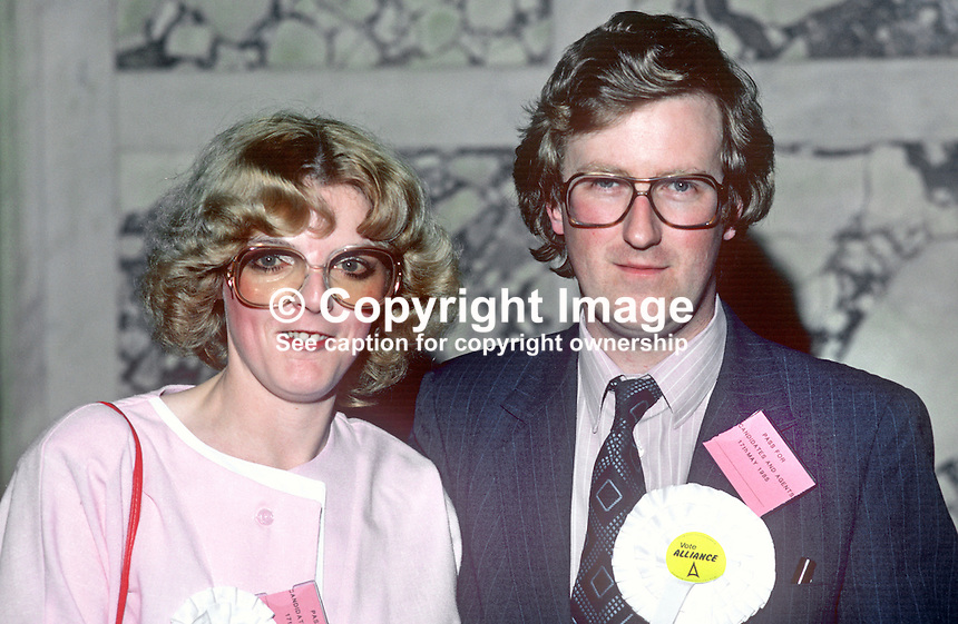 N Ireland Alliance Party councillors, Will &amp; Pip Glendinning, a husband &amp; wife team, who were both elected to Belfast City Council in the local government elections, May 1985. 19850510WGPG<br />