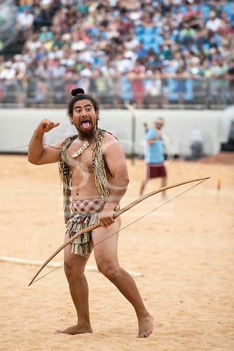 A Maori contestant celebrates a good shot during the archery contest at the International Indigenous Games, in the city of Palmas, Tocantins State, Brazil. Photo © Sue Cunningham, pictures@scphotographic.com 25th October 2015