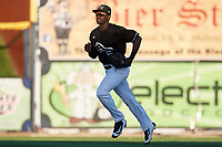 Quad Cities River Bandits center fielder Daz Cameron (16) jogs back to the dugout during a game against the Lake County Captains on May 6, 2017 at Modern Woodmen Park in Davenport, Iowa.  Lake County defeated Quad Cities 13-3.  (Mike Janes/Four Seam Images)