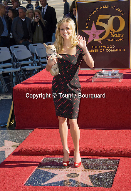 Reese Whiterspoon honored with a star on the Hollywood walk of Fame in Los Angeles.