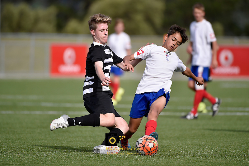 Football - National Age Group Tournament Northern v Auckland at Petone Memorial Park, Petone, Lower Hutt, New Zealand on Tuesday 15 December 2015.<br /> Photo by Masanori Udagawa. <br /> www.photowellington.photoshelter.com.