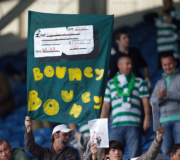Celtic fans with a Bouncy Bouncy cheque