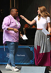 Alex Newell and Melissa Benoist performing at the United Airlines Presents: #StarsInTheAlley Produced By The Broadway League on June 1, 2018 in New York City.