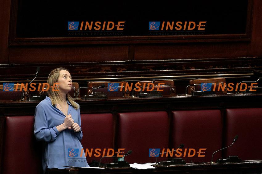 Giorgia Meloni<br /> Roma 31-01-2014 Camera. Voto sulle pregiudiziali di costituzionalit&agrave;' della legge elettorale.<br /> Photo Samantha Zucchi Insidefoto