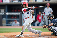 Louisville Bats outfielder Phillip Ervin (6) follows through on his swing against the Toledo Mud Hens during the International League baseball game on May 17, 2017 at Fifth Third Field in Toledo, Ohio. Toledo defeated Louisville 16-2. (Andrew Woolley/Four Seam Images)