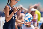 GULF SHORES, AL - MAY 07:  Heidi Dyer (22) of Pepperdine gets ready to server during the Division I Women's Beach Volleyball Championship held at Gulf Place on May 7, 2017 in Gulf Shores, Alabama.The University of Southern California defeated Pepperdine 3-2 to claim the national championship. (Photo by Stephen Nowland/NCAA Photos via Getty Images)
