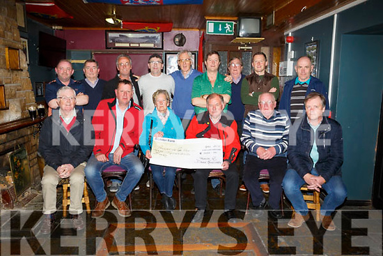 Greyhound Bar Golf society presented a cheques from Donie Houlihan Golf Tournament to the Kerry Hospice Foundation at the Greyhound Bar on Monday Pictured front l-r Richard Barry, Colm Sheehy, Captain, Theresa Houlihan, Joe Henneberry, Kerry Hospice Foundation, John O'Connell, Junior Foley, Back l-r Tim Barrett, Mossy Kelliher, Noel Greensmith, Peter Donegan, Aidan O'Connor, President, Terry Nammock, Francie Roche, Gary O'Reilly and  Des Byrne