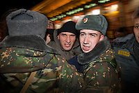 Moscow, Russia, 31/10/2010..Demonstrators struggle with police and soldiers at the first Strategy 31 anti-government demonstration to be permitted after all previous such demonstrations were broken up by police. Opposition activists hold regular demonstrations on the 31st day of the month, protesting against restrictions on the freedom of assembly, which is protected by article number 31 of the Russian constitution.