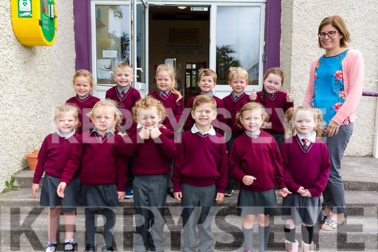 Twelve new Juniors who started school on Monday in St. Finian's NS, Waterville were front l-r; Vivienne O'Connell, Sarah Daly, James Cronin, Kielan O'Shea, Andrea Newell, Dannii O'Sullivan, back l-r; Shauna Barry, Conor Moran, May Barry, Daniel Clifford, Roan Doyle, Maggie Sheehy & Miriam Lyne(teacher).