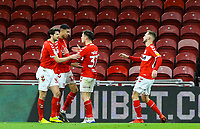 Middlesbrough's Ashley Fletcher celebrates scoring the opening goal with teammates<br /> <br /> Photographer Alex Dodd/CameraSport<br /> <br /> The EFL Sky Bet Championship - Middlesbrough v Preston North End - Wednesday 13th March 2019 - Riverside Stadium - Middlesbrough<br /> <br /> World Copyright &copy; 2019 CameraSport. All rights reserved. 43 Linden Ave. Countesthorpe. Leicester. England. LE8 5PG - Tel: +44 (0) 116 277 4147 - admin@camerasport.com - www.camerasport.com