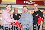 WINNER: Tommy Quane from Blennerville who was [presented with his first Five Basketball Draw prize envelope of a week-end in Dingle Skelig which was sponsored by Garvey's Super valu Tralee and the draw was run by Tralle Tigers Basketball Club, L-r: Kevin O'Connor(Manager Super Value,Tralee), Michael Morney (Tralee Tigers), Tommy Quane and Dave Falvey(manager of Tralee Tigers basketball Club).    .................... ..........