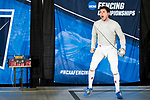 UNIVERSITY PARK, PA - MARCH 25: Eli Dershwitz of Harvard University reacts after winning the final point against Ziad Elsissy of Wayne State University and becoming the National Champion in the saber competition during the Division I Men's Fencing Championship held at the Multi-Sport Facility on the Penn State University campus on March 25, 2018 in University Park, Pennsylvania. (Photo by Doug Stroud/NCAA Photos via Getty Images)