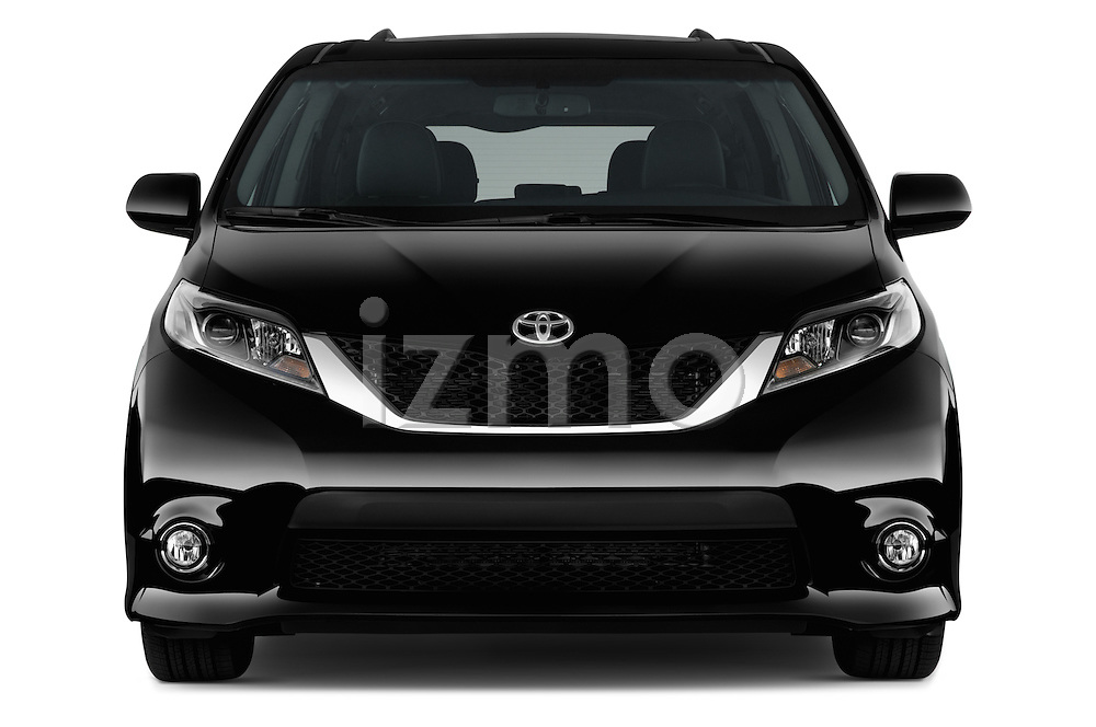 Car photography straight front view of a 2017 Toyota Sienna SE 5 Door Minivan Front View