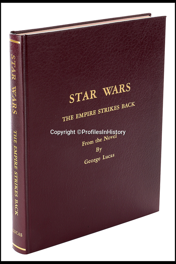 BNPS.co.uk (01202 558833)Pic: ProfilesInHistory/BNPS<br /> <br /> The front cover of Carrie Fisher's bound presentation script for Star Wars: Episode V – The Empire Strikes Back.<br /> <br /> It is being sold at auction with her two other bound scripts for the Star Wars trilogy as well as her working annoted script for the Empire Strikes Back.<br /> <br /> The four items are being sold by US auctioneers Profiles in Histiory for a combined £115,000.<br /> <br /> The burgandy leather bound scripts were given to the actors at the end of filming and signed by director George Lucas.