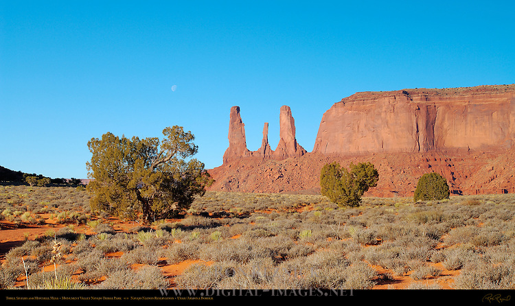Three Sisters and Mitchell Mesa, Monument Valley Navajo Tribal Park, Navajo Nation Reservation, Utah/Arizona Border