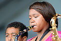Shamarr Allen at Jazz Fest with Sound Cafe kids..