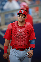 Palm Beach Cardinals catcher Jose Godoy (27) during a game against the Charlotte Stone Crabs on April 21, 2018 at Charlotte Sports Park in Port Charlotte, Florida.  Charlotte defeated Palm Beach 5-2.  (Mike Janes/Four Seam Images)