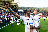 Leroy Fer of Swansea City during the players lap of appreciation after the Premier League match between Swansea City and West Bromwich Albion at The Liberty Stadium, Swansea, Wales, UK. Sunday 21 May 2017 (Photo by Athena Pictures/Getty Images)