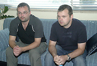 COPY BY TOM BEDFORD<br /> Pictured: Chris Cook (L) the brother of Steven Cook when he visited Crete a few days after his disappearance. 06 September 2005<br /> Re: Police have found the remains of the body in a well near a cemetery in Malia, on the Greek island of Crete with local news outlets speculating that it maybe that of 20 year old Briton Steven Cook who went missing on the 1st of September 2005. A disposable camera and a belt were reportedly found next to the remains.