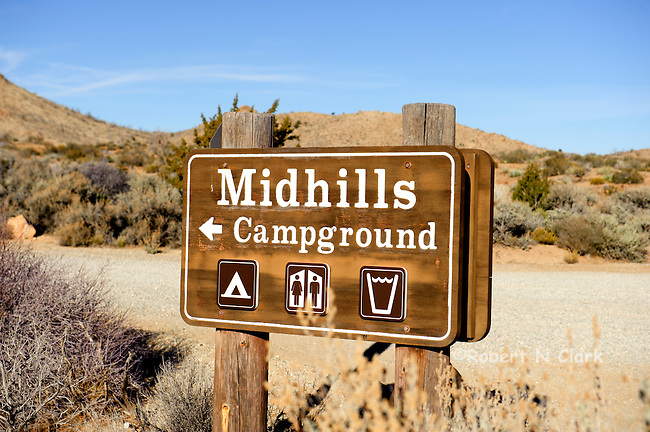 Sign for the Midhills Campground in the East Mojave National Preserve