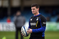 Freddie Burns of Bath Rugby looks on during the pre-match warm-up. Heineken Champions Cup match, between Bath Rugby and Wasps on January 12, 2019 at the Recreation Ground in Bath, England. Photo by: Patrick Khachfe / Onside Images