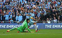 Manchester City's Sergio Aguero scores his sides first goal  <br /> <br /> Photographer Rob Newell/CameraSport<br /> <br /> The Emirates FA Cup Semi-Final - Arsenal v Manchester City - Sunday 23rd April 2017 - Wembley Stadium - London<br />  <br /> World Copyright &copy; 2017 CameraSport. All rights reserved. 43 Linden Ave. Countesthorpe. Leicester. England. LE8 5PG - Tel: +44 (0) 116 277 4147 - admin@camerasport.com - www.camerasport.com