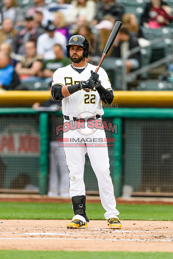 Kaleb Cowart (22) of the Salt Lake Bees at bat against the Sacramento River Cats in Pacific Coast League action at Smith's Ballpark on April 11, 2017 in Salt Lake City, Utah. The River Cats defeated the Bees 8-7. (Stephen Smith/Four Seam Images)