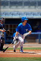 Dunedin Blue Jays Christian Williams (10) bats during a Florida State League game against the Charlotte Stone Crabs on April 17, 2019 at Charlotte Sports Park in Port Charlotte, Florida.  Charlotte defeated Dunedin 4-3.  (Mike Janes/Four Seam Images)