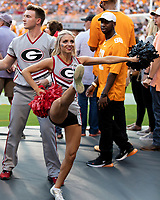KNOXVILLE, TN - OCTOBER 5: Georgia cheerleader during a game between University of Georgia Bulldogs and University of Tennessee Volunteers at Neyland Stadium on October 5, 2019 in Knoxville, Tennessee.