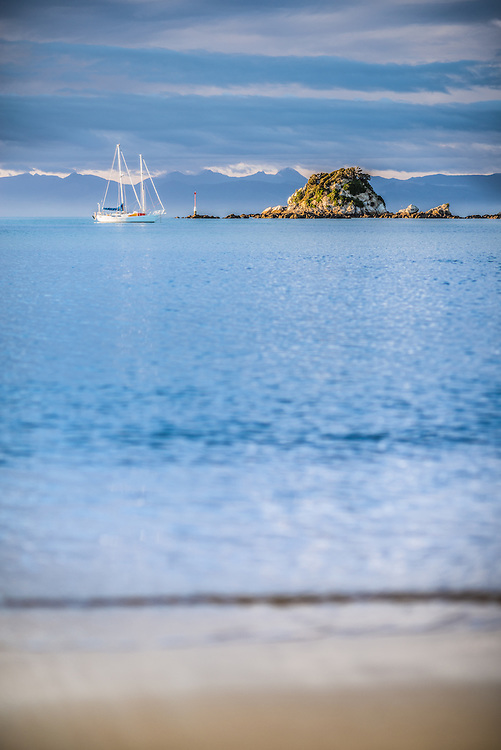 Yacht, Island, Kaiteriteri Beach, New Zealand - stock photo, canvas, fine art print