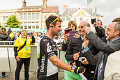 6th September 2017, Mansfield, England; OVO Energy Tour of Britain Cycling; Stage 4, Mansfield to Newark-On-Trent;  Mark Cavendish team-leader of the Dimension Data team talks to the crowd after registration