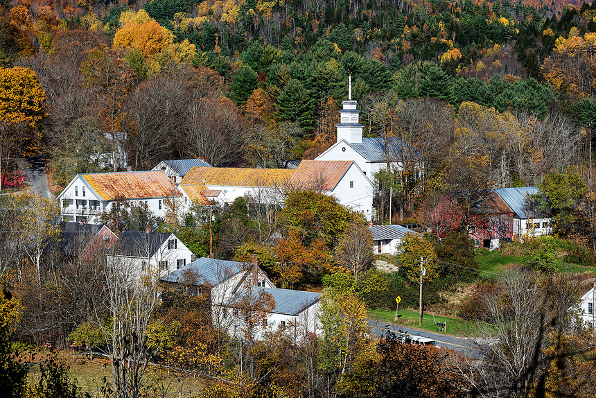 Charming village of Topsham, Vermont, USA.